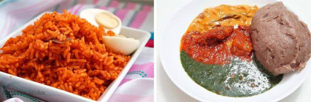 ollof & Amala. Common delicacies at an Owambe Party
