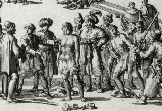 Moroccan Slave Market. Anonymous woodcut (17th C.)