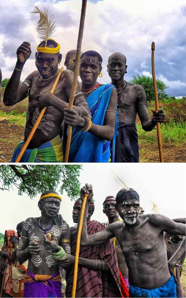 (1) & (2)- )Mursi Warriors, Ethiopia with donga -Rod Waddington /Flickr -CC BY-SA 2.0
