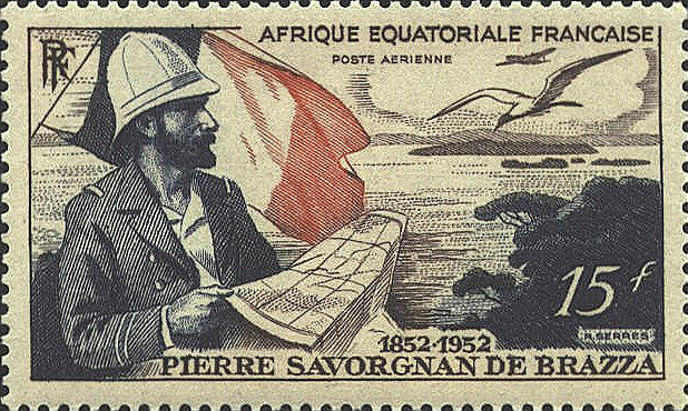 In 1951 French Equatorial Africa issued a stamp to commemorate the 100th anniversary of the birth of Pierre Paul François Camille Savorgnan de Brazza (1852-1905). The map on the stamp shows a portion of the east coast of Africa at the southern part of French Equatorial Africa. De Brazza was instrumental in the establishment of the French colonies on the east coast of Africa.