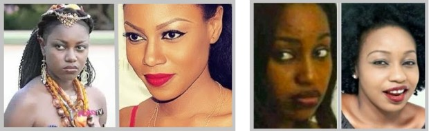 NollyWood Actresses Yvonne Nelson & Rita Domninic showing a difference in skin tone