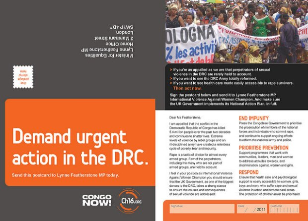 Flickr / Christian Guthier - An Oxfam led petition with Congo Now on Channel 16. Call to Lynne Featherstone, International Violence Against Women Champion