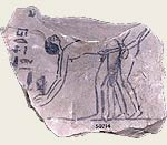 Ancient Egyptian Rammeside period ostraca depicting sexual intercourse