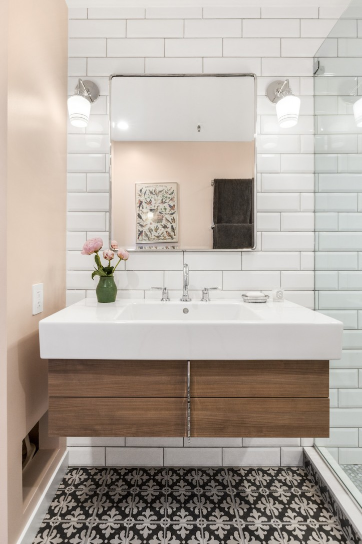 Beveled Bathroom Vanity Mirror A Tired Bathroom Shines With These Bathroom Renovation Ideas