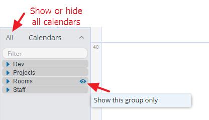 folders - show or hide calendars