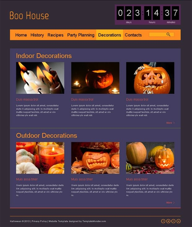 Our Favorite Creepy Creation of The Week Halloween Free HTML5 Theme - halloween website template