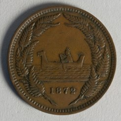 Reverse of token issued by R. Gratten of Auckland, 1872, New Zealand, maker unknown. Te Papa (NU002342)