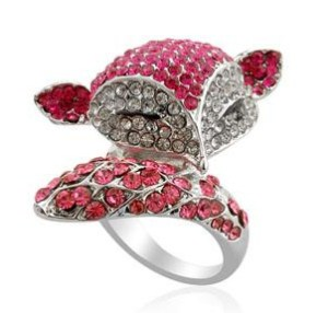 Creature Couture Pink,White and Purple Austrian Crystal Ring