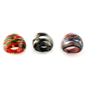 Murano Glass (Blue, Black and Red) Set of 3 Ring