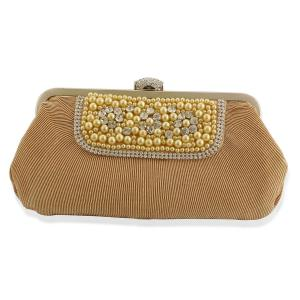 J Francis - Hand Set Austrian Crystals, Luxury Satin Gold Colour Clutch Bag and 2 Chains. Today's Price £ 12.99