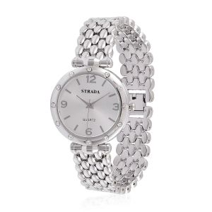 STRADA Japanese Movement Silver Dial White Austrian Crystal Water Resistant Watch in Silver Tone with Stainless Steel Back and Chain Strap