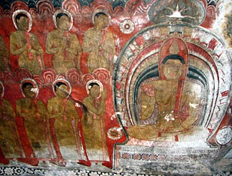 Rock paintings in the Golden Temple of Dambulla, Sri Lanka - one of the six World Heritage sites we'll visit on our tour next February.