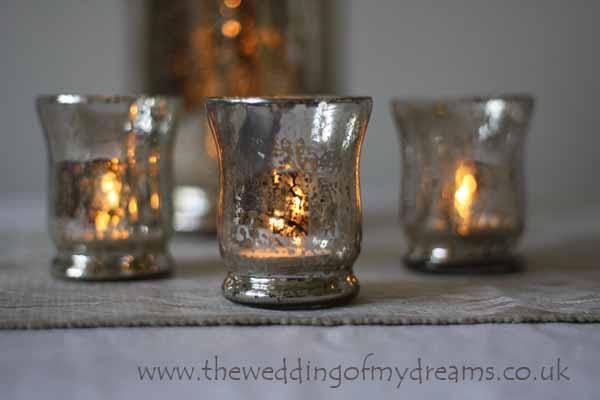 Mercury Silvered Tea Lights Wedding Table Decorations