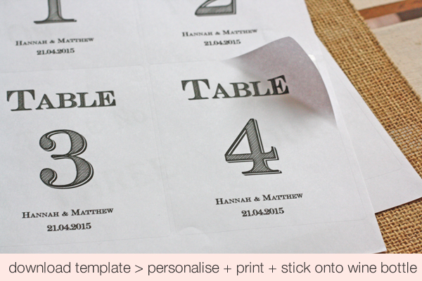 FREE Download Printable Wedding Table Numbers Stickers For Wine - free wine bottle label templates