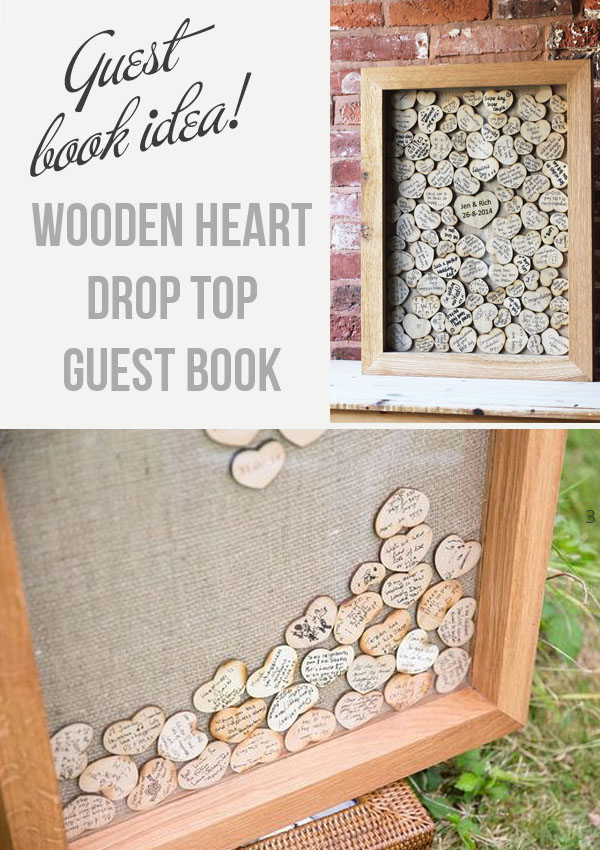 Drop Top Wooden Heart Guest Book - For Sale