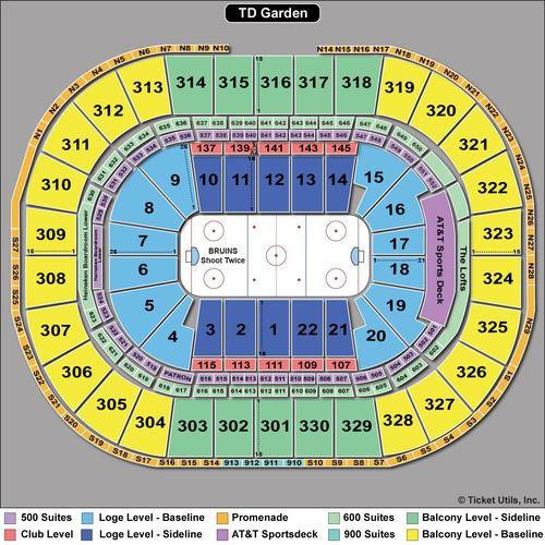 Boston Bruins  Boston Celtics Seating Chart TD Garden TickPick