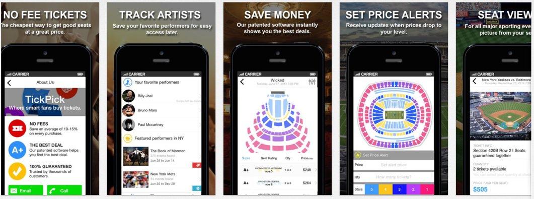 The Best Concert App for Buying tickets TickPick - concert tickets design