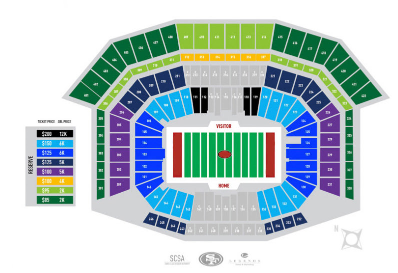 Levi\u0027s Stadium Seating Chart San Francisco 49ers Seat Views TickPick