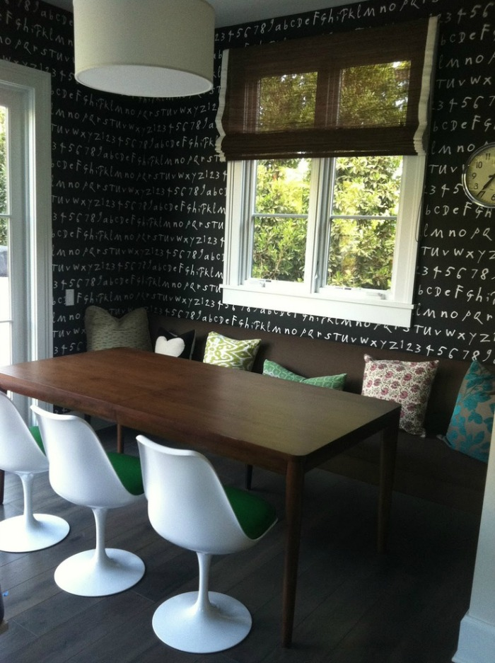 chandelier geometric wallpaper idea eat kitchen reworking eat kitchen