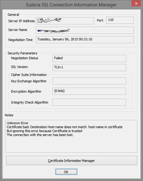 Eudora SSL Connection Information Manager