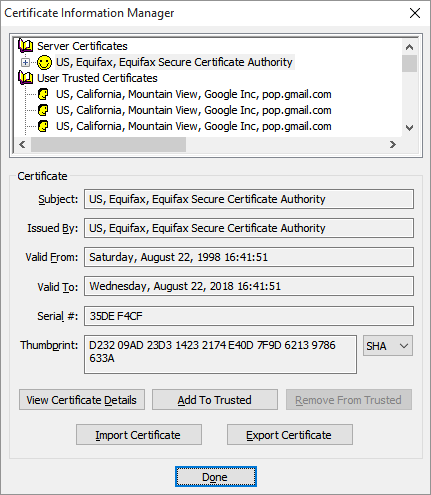 The Certificate Information Manager displays and allows you to manipulate the certificate chain.