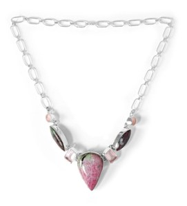 Artisan Crafted Sterling Silver Ruby Zoisite,Pink Quartz Necklace