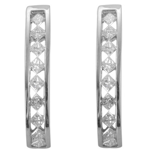 Diamond (1.00 Ct) 14K W Gold Earring 1.000 Ct.
