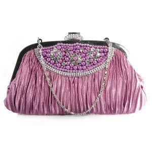 J Francis - Lavender Satin Caroline Clutch With Austrian Crystals and Removable Strap, £ 12.99