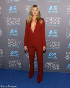 Jen wore a daring suit to the Critic's Choice Awards