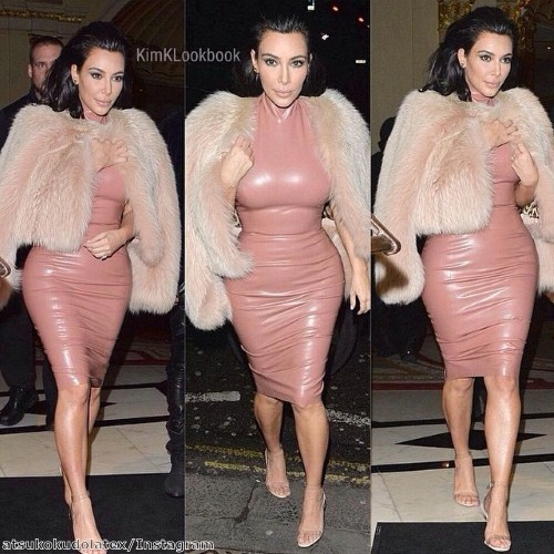 We love Kim's edgy latex look