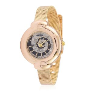 STRADA Japanese Movement Stardust Dial Water Resistant Watch in Gold Tone with Stainless Steel Back and Chain Strap
