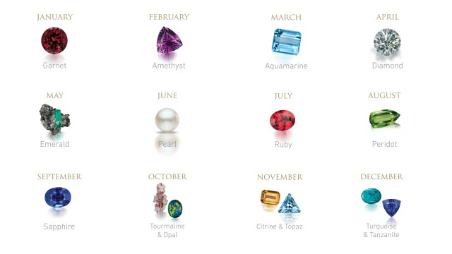 Twelve months of birthstones