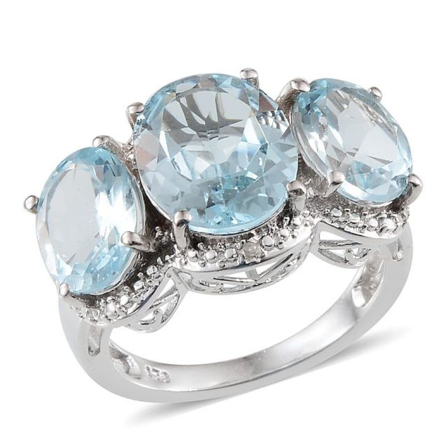 Sky Blue Topaz Diamond Trilogy Ring