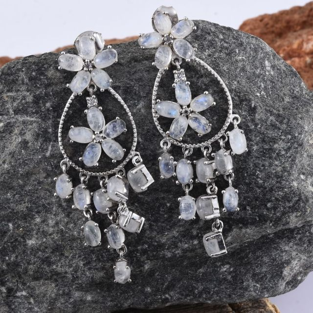 Sri Lankan Rainbow Moonstone, Natural Cambodian Zircon Floral Inspired Earrings