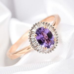 ILIANA 18K Rose Gold Natural Purple Sapphire, Diamond Ring