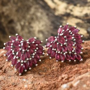 African Ruby (Pear) Heart Stud Earrings