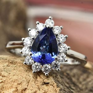 RHAPSODY AAAA Tanzanite and Diamond Halo Ring