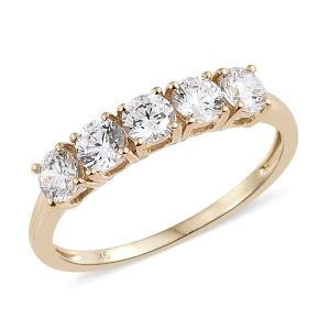J Francis- Made with SWAROVSKI ZIRCONIA 5 Stone Ring in 9K Gold
