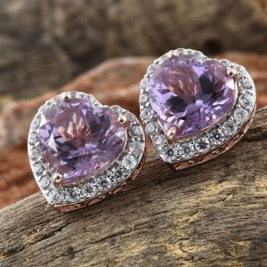 Rose De France Amethyst and Natural Cambodian Zircon Heart Stud Earrings