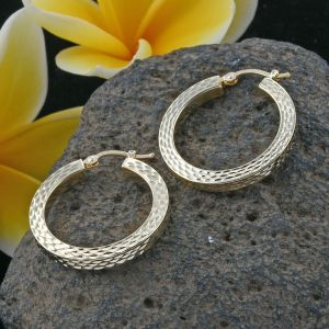 Royal Bali Surabaya Collection 9K Yellow Gold Square Creole Hoop Earrings