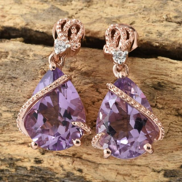 Rose De France Amethyst, Natural Cambodian Zircon Drop Earrings