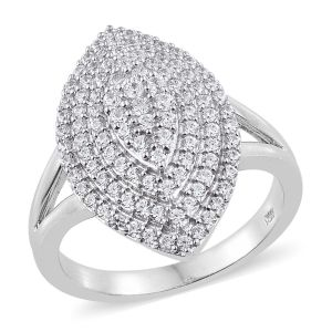 J Francis - Platinum Overlay Sterling Silver Leaf Ring Made with SWAROVSKI ZIRCONIA