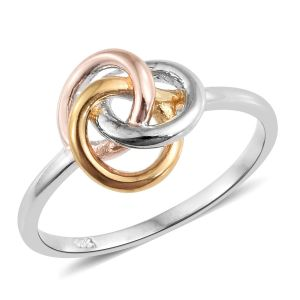 Tri Colour Sterling Silver Knot Ring