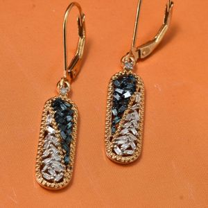 Gold Plated Blue and White Diamond Lever Back Earrings