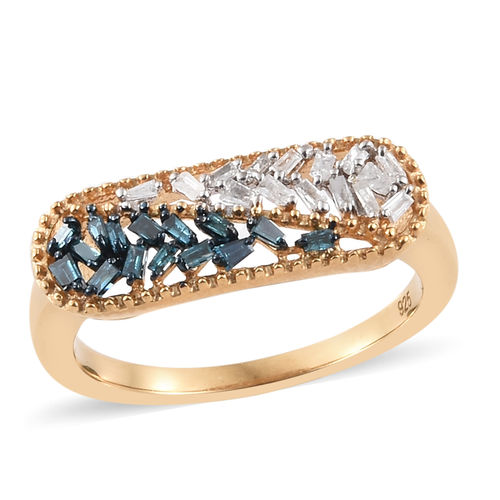 Gold Plated Blue and White Diamond Ring