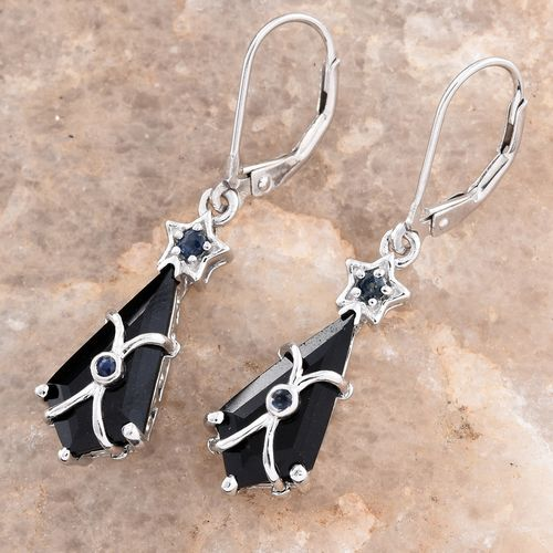 Lever Back Earrings With Black Tourmaline