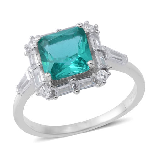 Designer Inspired Simulated Paraiba Tourmaline Ring By ELANZA