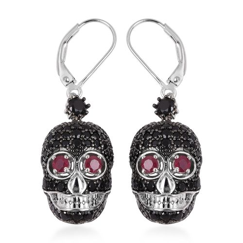 Designer Inspired-Boi Ploi Black Spinel (Rnd), African Ruby Skull Lever Back Earrings