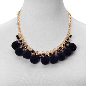 Black Colour Pom Pom Choker Necklace