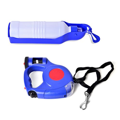 Retractable LED Leash with Water Bottle and Plastic Bag